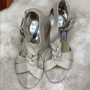 Michael Kors off white stacked healed sandals.